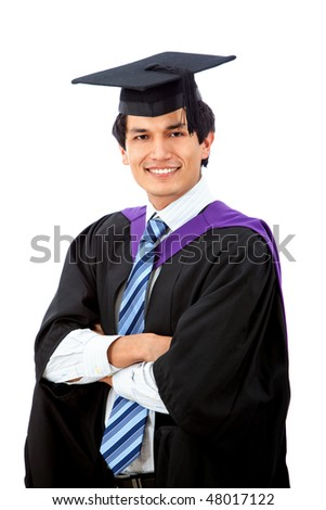 male graduation portrait smiling isolated over a white background
