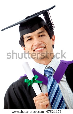Male graduation student isolated over a white background - stock photo