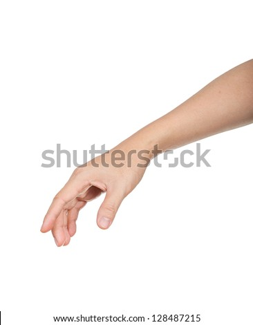 male hand and arm reaching for something - stock photo