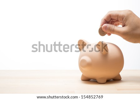 Male hand and piggy bank - stock photo