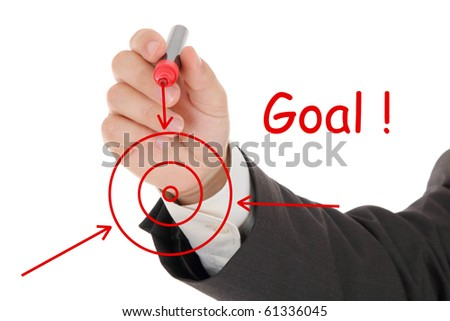male hand and red chart - stock photo