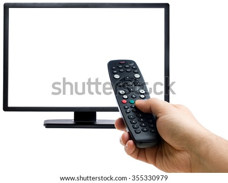 Male hand changing the channel with the remote control pointing at blank display isolated - stock photo