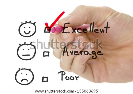 Male hand choosing excellent on a customer service evaluation form on a virtual whiteboard. - stock photo
