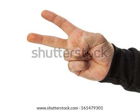 male hand counting 2 isolated on white - stock photo