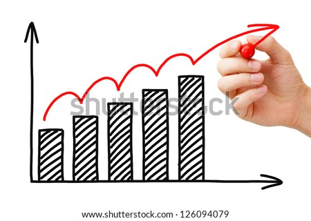 Male hand drawing Business Growth Graph with marker on transparent wipe board. - stock photo