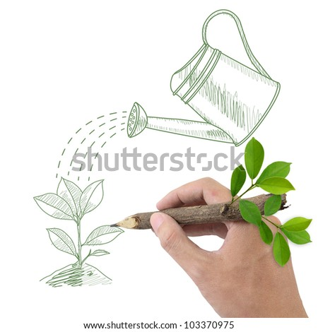 Male hand drawing green plant and watering can. - stock photo