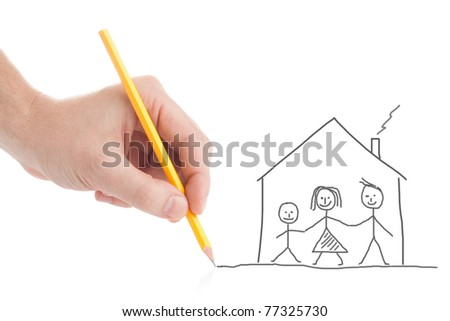 Male hand drawing his family and a house on white background - stock photo
