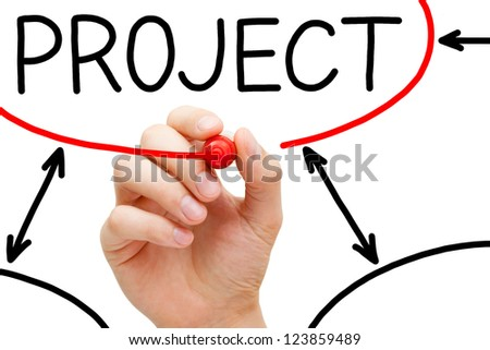 Male hand drawing Project flow chart on transparent wipe board. - stock photo