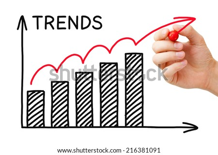 Male hand drawing Trends Growth Graph with marker on transparent wipe board. - stock photo