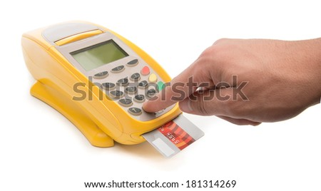 Male hand enters PIN code on payment terminal isolated on white background     - stock photo