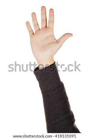 male hand extended in greeting isolated on white.
