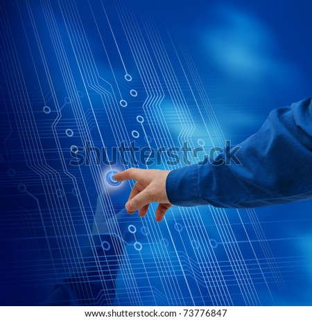 Male hand finger pushing button electronic circuit background - stock photo