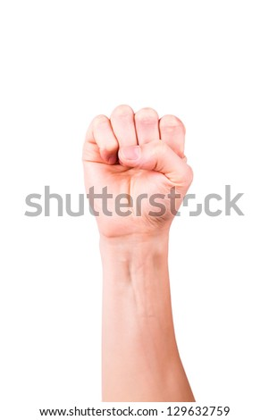 Male hand forming a fist isolated on white - stock photo