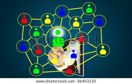 male hand from tablet push on social network diagram