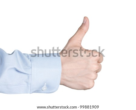 Male hand gesturing thumbs up or like, isolated on white background - stock photo
