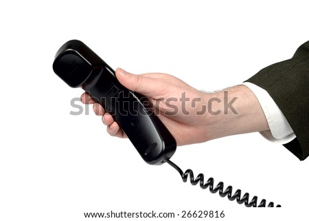 Male hand giving a phone tube isolated over white - stock photo