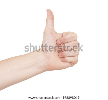 Male hand giving a thumbs up approval. Isolated on a white background with clipping path - stock photo