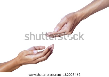 Male hand giving help to young female hand - stock photo