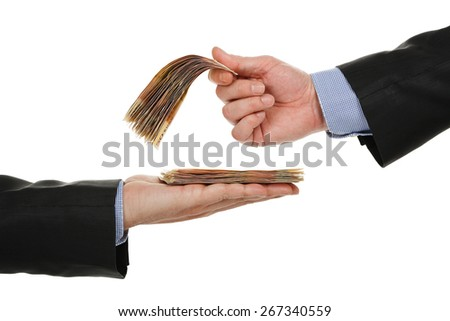 male hand giving money to another one, isolated on white