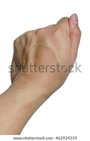 Male hand hold something with clenched a fist isolated on white background, Close up and Clipping path