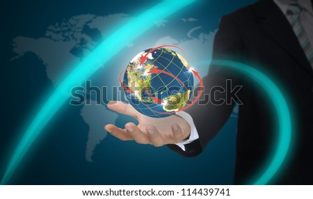 Male Hand hold world network.  Element of this image furnished by NASA. - stock photo