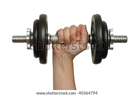 Male hand, holding a barbell. White background, saved with clipping path