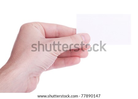 Male hand holding a blank white card against white background