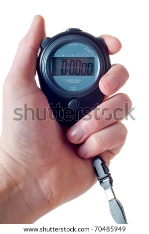 Male hand holding a blue stop watch isolated over white - stock photo