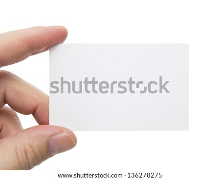 male hand holding a business card, clipping path included - stock photo