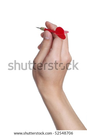 male hand holding a dart over a white background