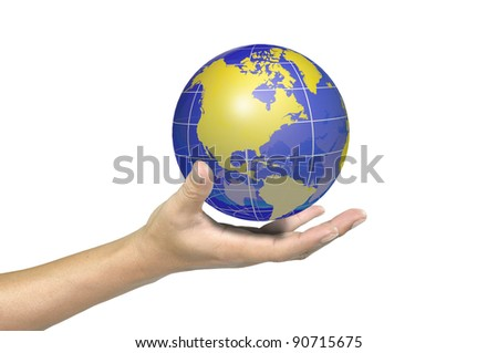 Male hand holding a glowing earth globe in globalization concept