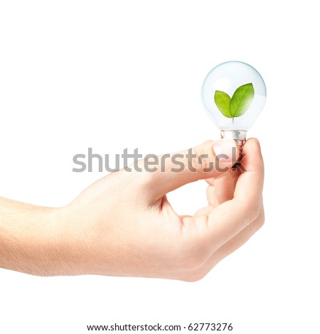 Male hand holding a light bulb with fresh green leaves inside, isolated on white background - stock photo