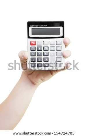 Male hand holding a mathematical calculator with the keypad and blank display facing the camera isolated on white - stock photo