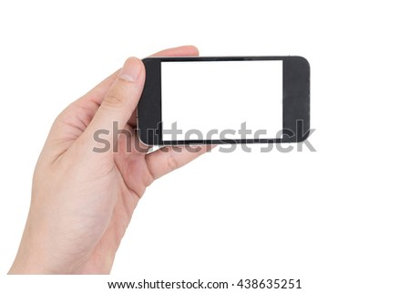 Male hand holding a mobile phone with touch blank white screen on white background. - stock photo