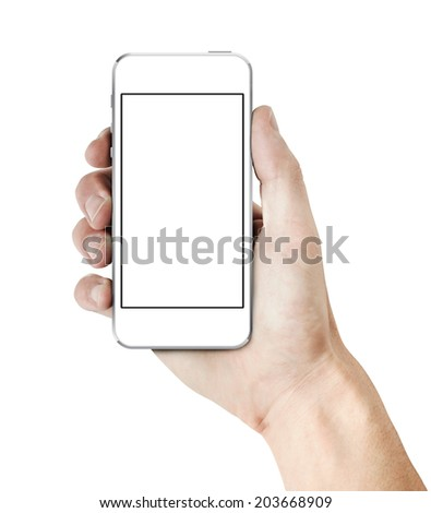 Male hand holding a new white smart phone with white blank screen. isolated on white. - stock photo
