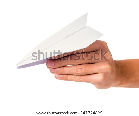 Male hand holding a paper plane isolated on a white background