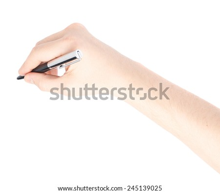 Male hand holding a pen over the white surface, composition isolated over the white background - stock photo