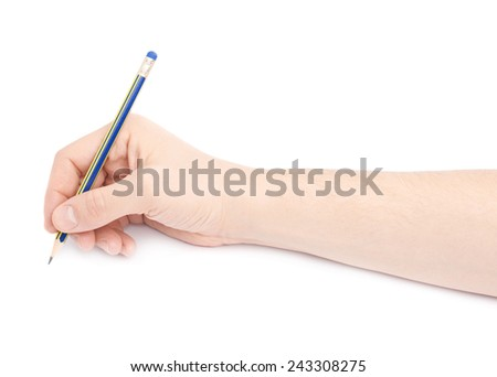 Male hand holding a pencil over the white surface, composition isolated over the white background - stock photo