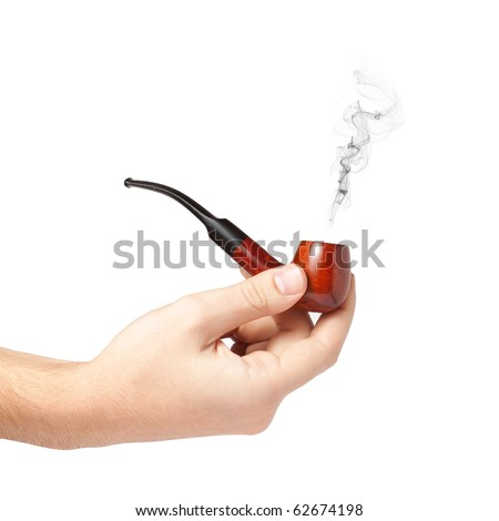 Male hand holding a smoking pipe isolated on white background - stock photo