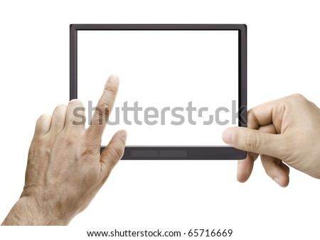 male hand holding a touchpad with an e-Book on screen isolated on white - stock photo
