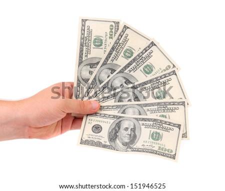 Male hand holding american Dollar-bills. - stock photo