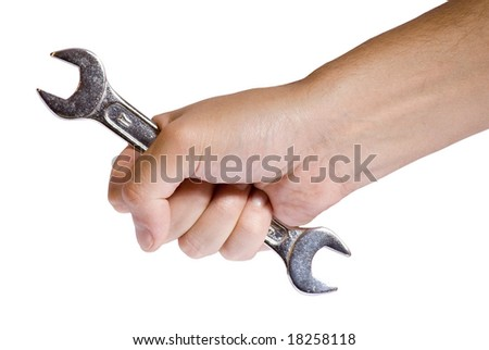 male hand holding an adjustable wrench