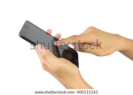 Male hand holding and touch screen smart phone, tablet,cellphone