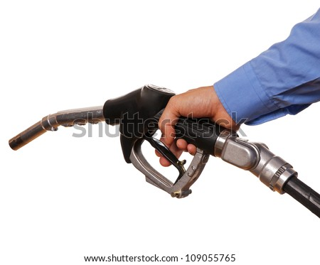 Male hand holding black pump isolated on white - stock photo