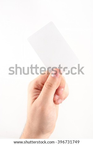 Male hand holding blank card