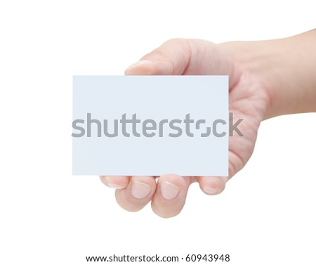 Male hand holding blank card - stock photo