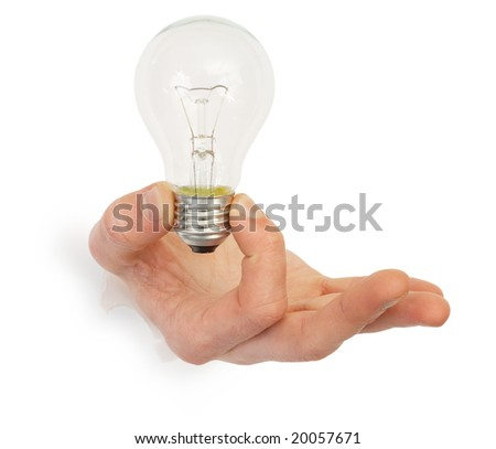Male hand holding bulb photographed on a white background