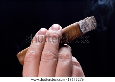 Male hand holding cigar - stock photo