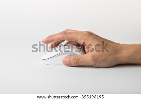 Male hand holding computer mouse isolated on white