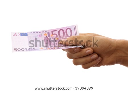 Male hand holding 500 euro - stock photo